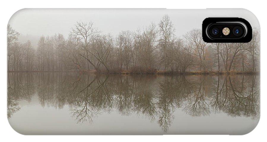Lagoon IPhone X / XS Case featuring the photograph Foggy Lagoon Reflection #4 by Dan Farmer
