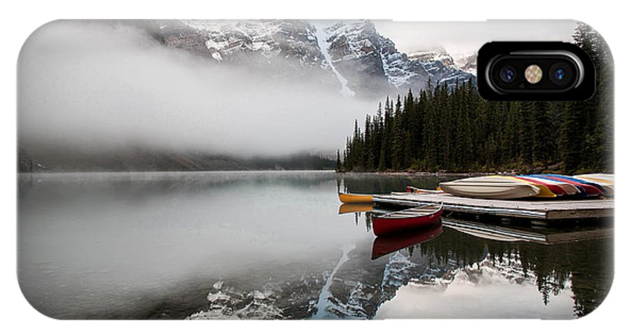 Canada IPhone X Case featuring the photograph Foggy Morning At Moraine Lake by Katherine Hawkins