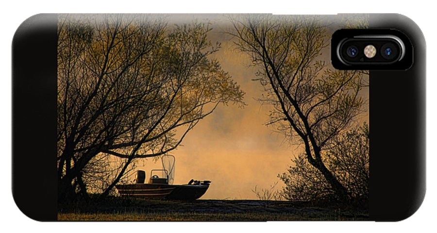 Fishing Boat IPhone X / XS Case featuring the photograph Foggy Morning Fishing Boat by Carolyn Fletcher