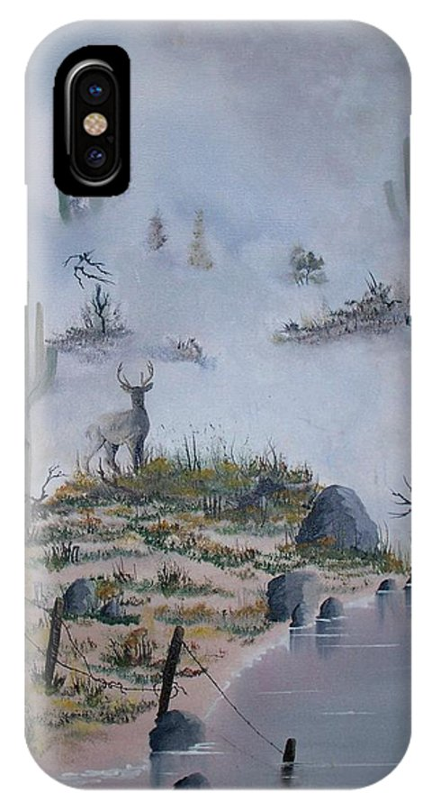 Animals IPhone X Case featuring the painting Foggy Morning by Patrick Trotter