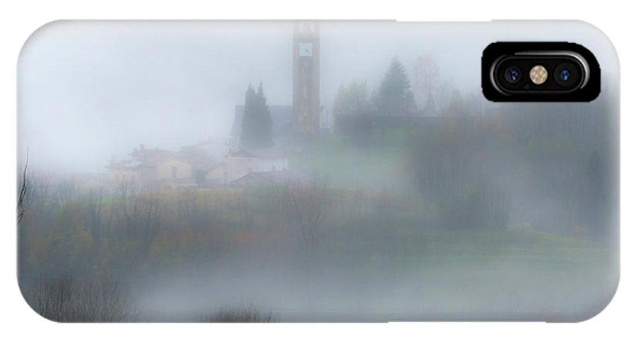 Italy IPhone X / XS Case featuring the photograph Foggy Mountain Village by Wolfgang Stocker