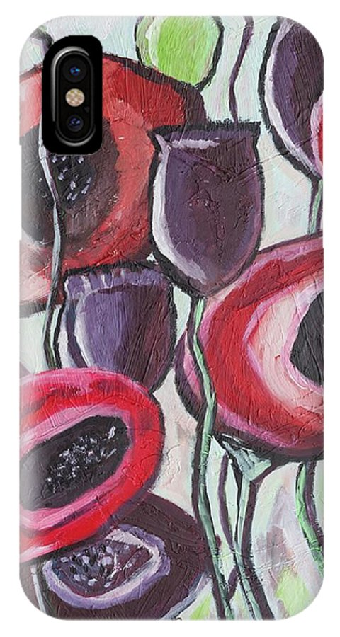 Poppy Flowers IPhone X Case featuring the painting Foggy Poppy by Sarah Jewett