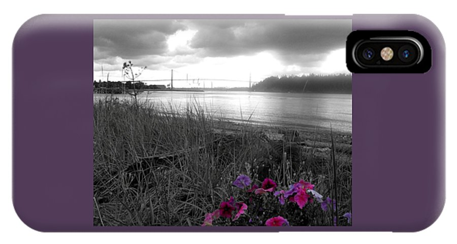 Pink IPhone X Case featuring the photograph Foggy, Wet View by Sheryl R Smith