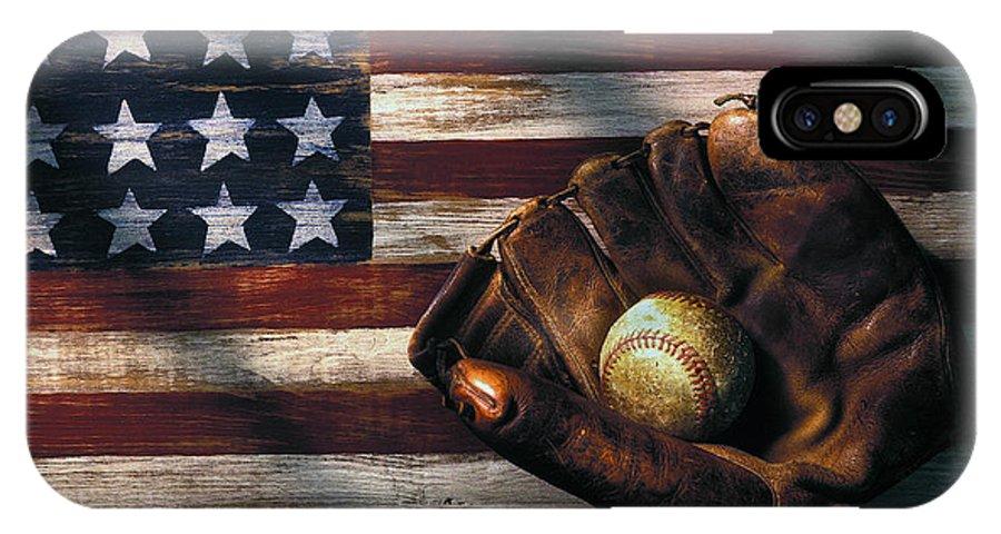 Folk Art American Flag IPhone X Case featuring the photograph Folk Art American Flag And Baseball Mitt by Garry Gay