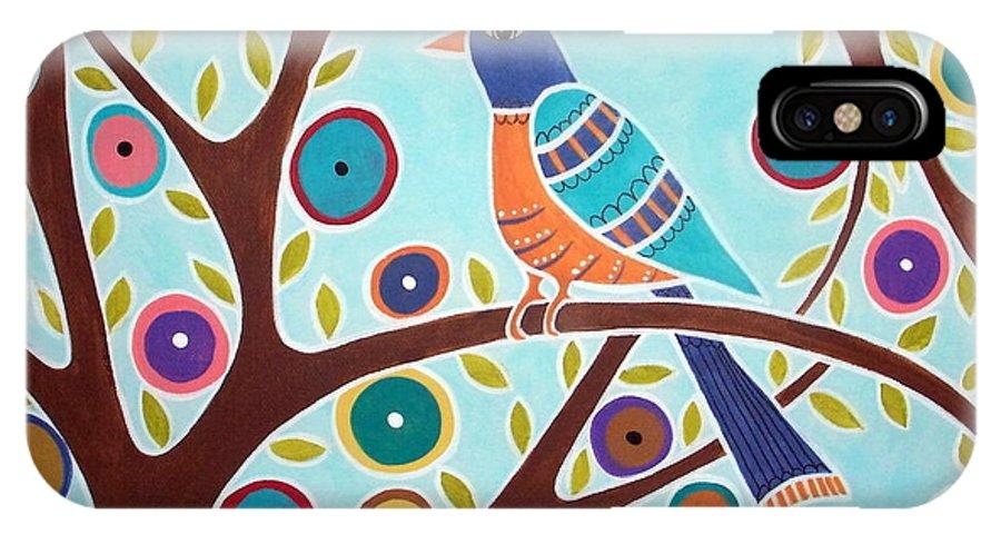 Bird IPhone X Case featuring the painting Folk Bird In Tree by Karla Gerard