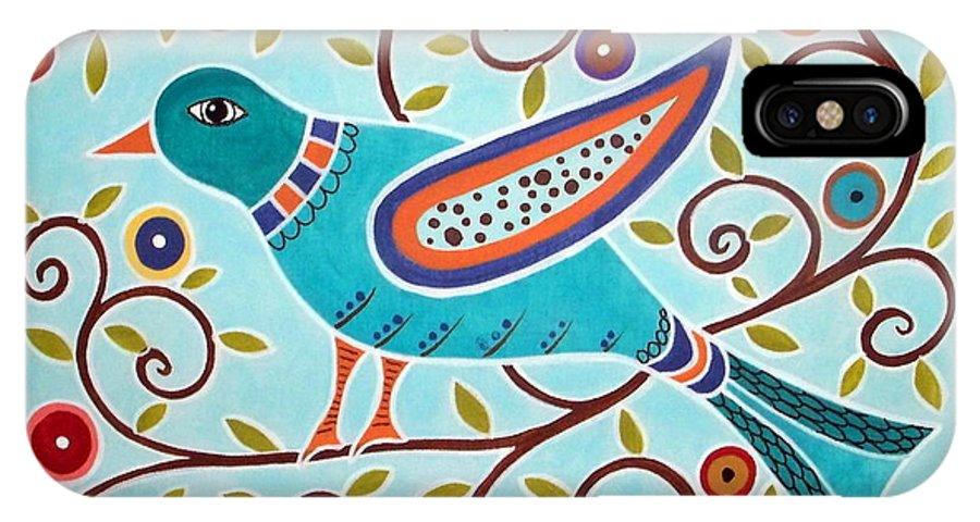 Bird IPhone X Case featuring the painting Folk Bird by Karla Gerard
