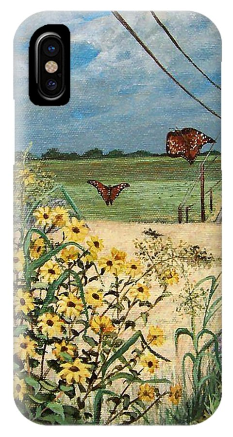 Wild Sunflowers IPhone Case featuring the painting Follow Me by Mona Davis
