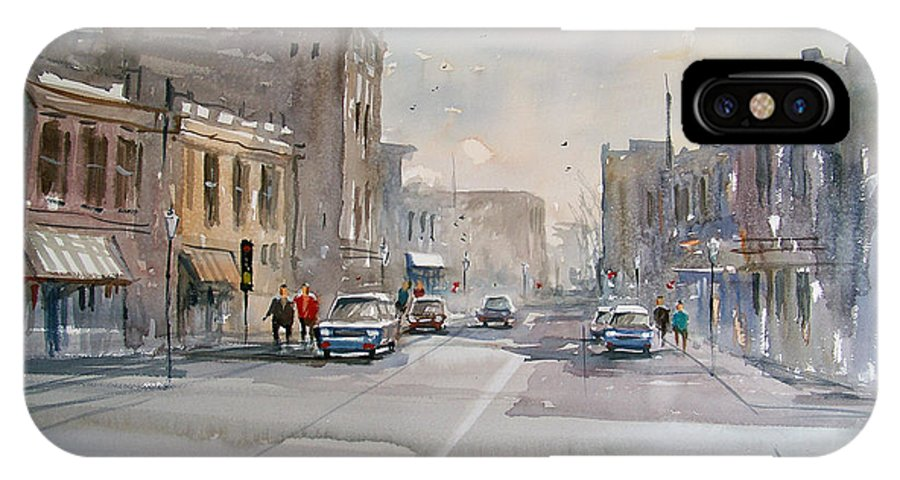Watercolor IPhone X Case featuring the painting Fond Du Lac - Main Street by Ryan Radke