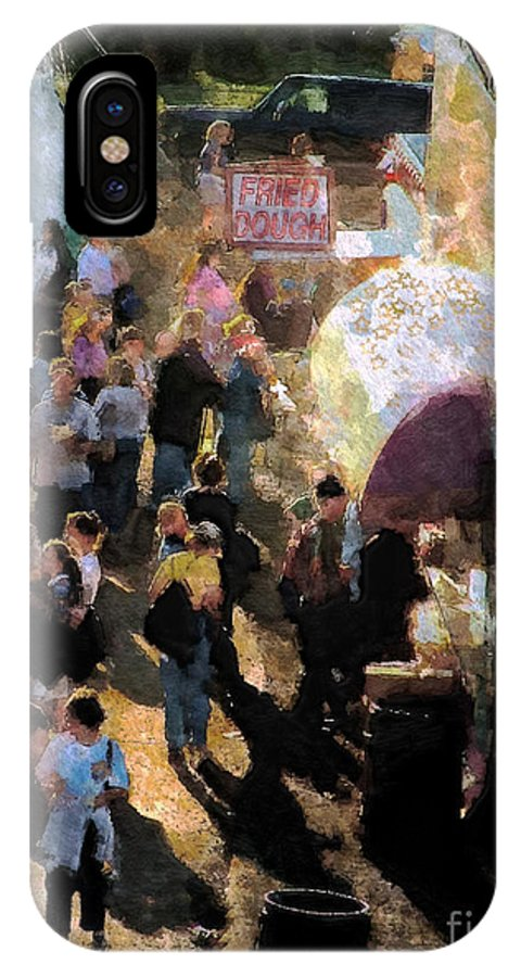 Americana IPhone X Case featuring the painting Food Alley At The Country Fair by RC DeWinter