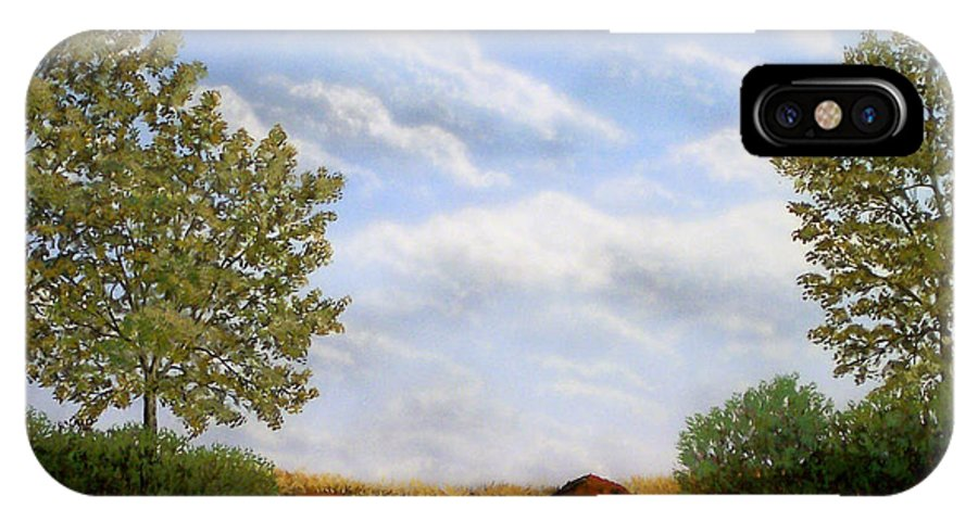 Landscape IPhone X Case featuring the painting Foothills Afternoon by Frank Wilson