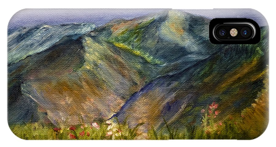Mountains IPhone X Case featuring the painting Foothills by Tabetha Landt