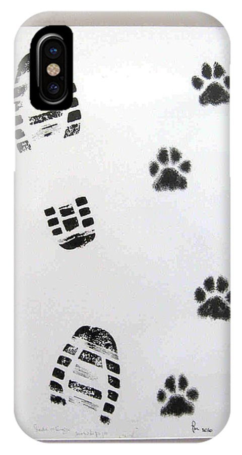 Footprints IPhone X Case featuring the drawing Footprints- Friends by Dragica Micki Fortuna