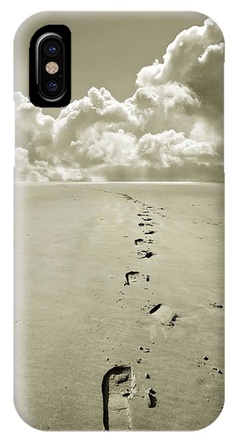 Footprints IPhone X Case featuring the photograph Footprints In Sand by Mal Bray