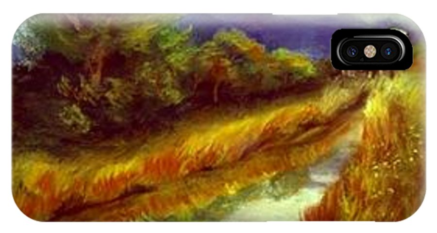 Landscape IPhone X Case featuring the painting For A Thirsty Land by Gail Kirtz