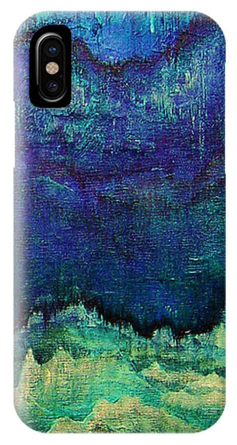 Blue IPhone Case featuring the painting For Linda by Shadia Derbyshire