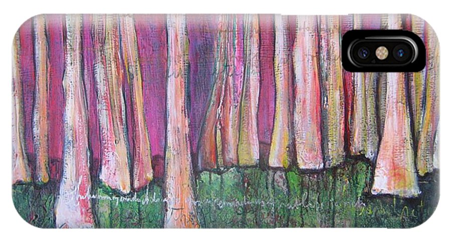 Aspen Trees IPhone X Case featuring the painting For Page Turner by Laurie Maves ART