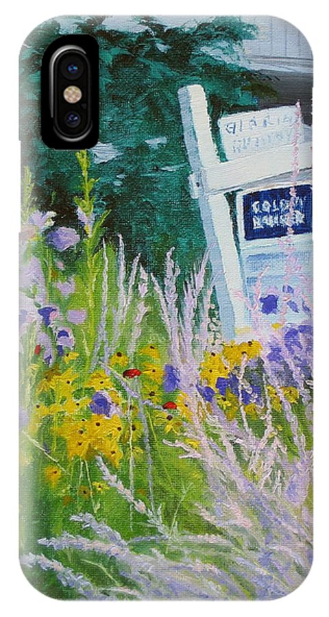 Landscape IPhone X Case featuring the painting For Sale - A Patch Of Paradise by Lea Novak