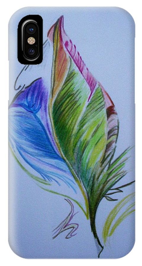 Abstract IPhone X / XS Case featuring the drawing For Starters by Suzanne Udell Levinger