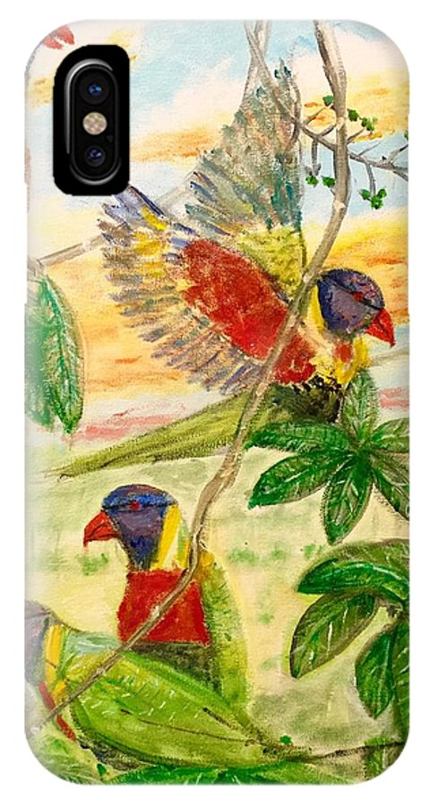 Art IPhone X Case featuring the painting For The Birds by Larry E Lamb