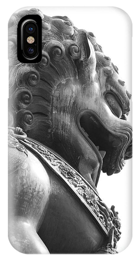 China IPhone X Case featuring the photograph Forbidden City Lion - Black And White by Carol Groenen
