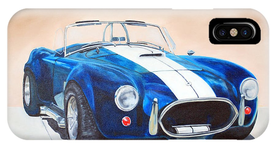 Car IPhone X Case featuring the painting Ford Cobra In Oil by Margaret Fortunato