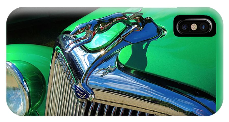 Maine IPhone X / XS Case featuring the photograph Ford Greyhound Hood Ornament by Lisa Gilliam
