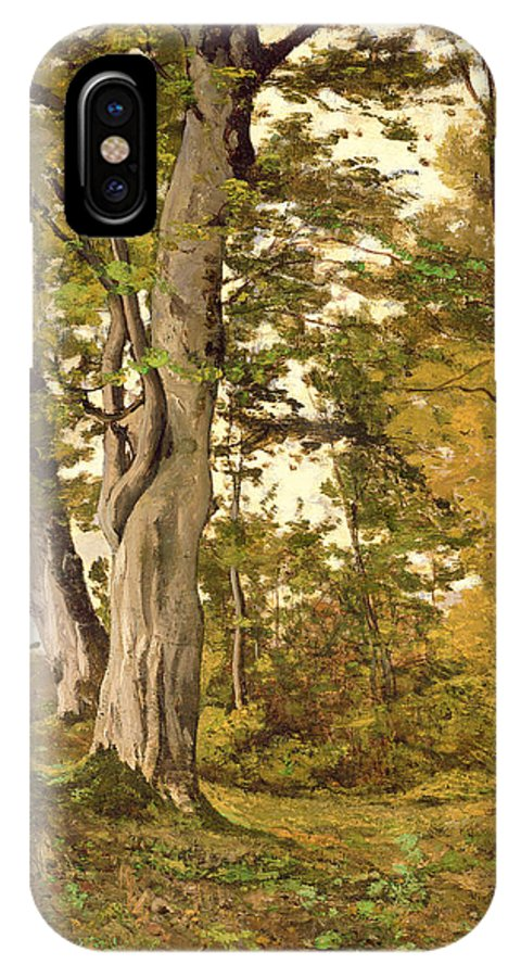 Forest IPhone X Case featuring the painting Forest At Fontainebleau by Henri-Joseph Harpignies