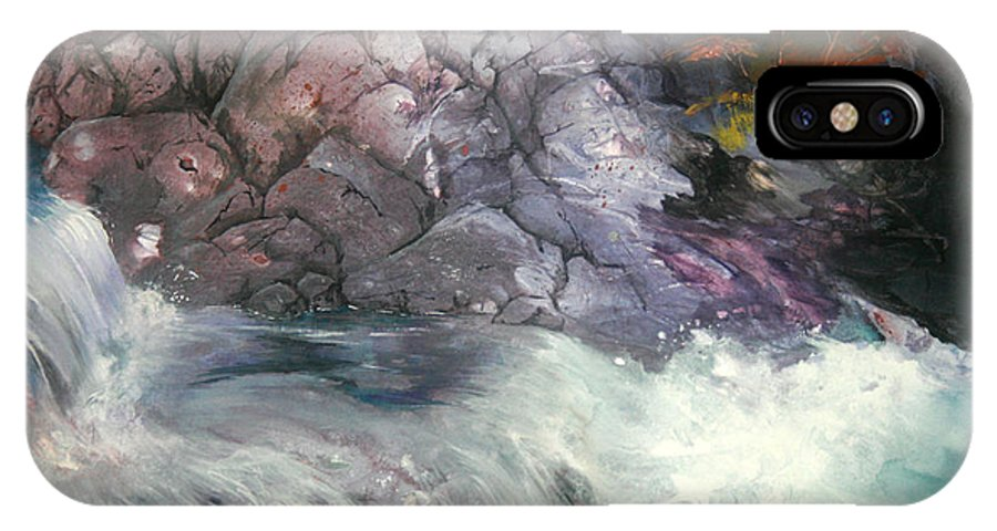 Waterfall IPhone X Case featuring the painting Forest Creek by Sherry Shipley