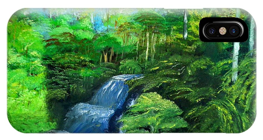 Lanscape Brasilien Forest IPhone X Case featuring the painting Forest by Cvetko Ivanov