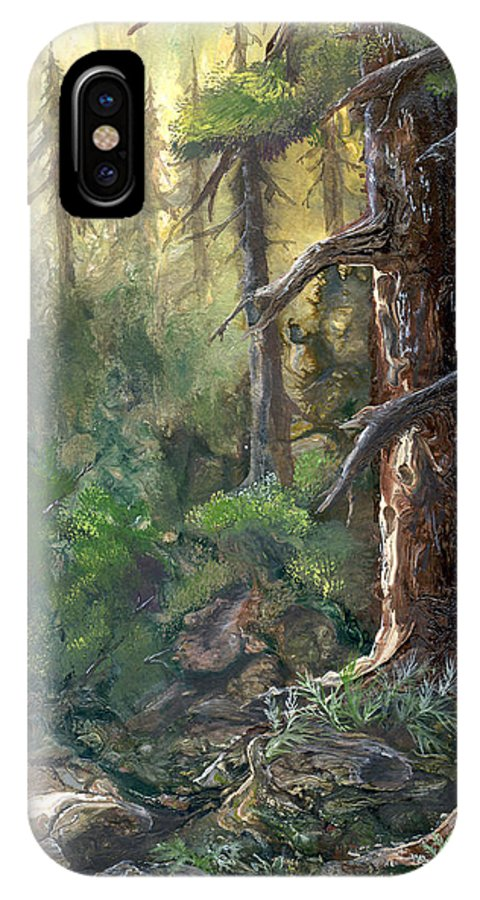 Trees IPhone X Case featuring the painting Forest Deep by Sherry Shipley
