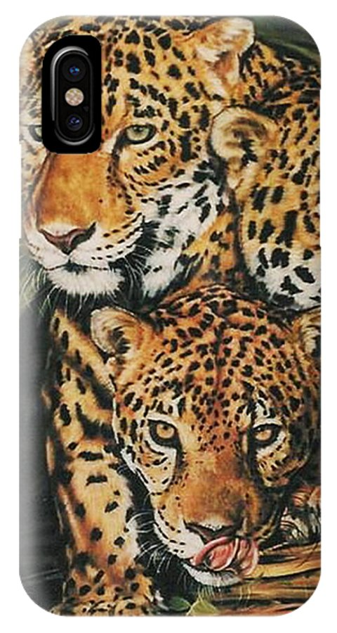 Jaguar IPhone X Case featuring the pastel Forest Jewels by Barbara Keith