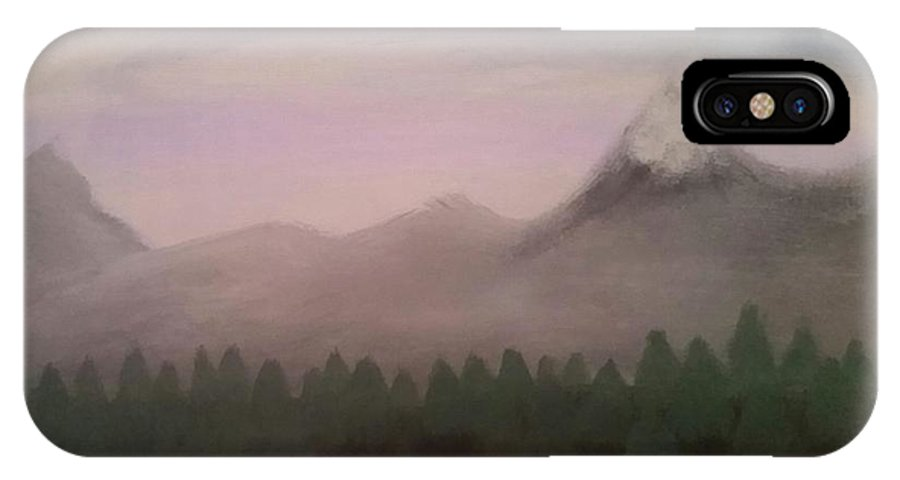 Forest IPhone X Case featuring the painting Forest, Mist, And Mountains by Vale Anoa'i