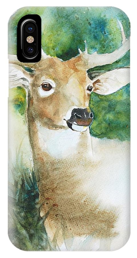 Deer IPhone X Case featuring the painting Forest Spirit by Christie Martin