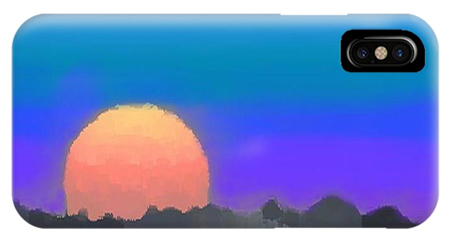 Evenung.sunset.sky.sun.background Forest.silence.rest IPhone X Case featuring the digital art Forest Sunset. by Dr Loifer Vladimir