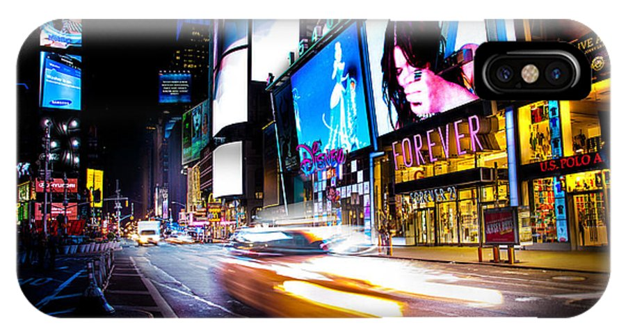 Times Square IPhone X Case featuring the photograph Forever Land by Az Jackson