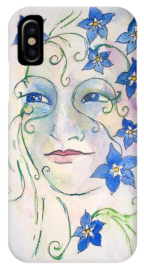 Flower IPhone X Case featuring the painting Forget Me Not by Robin Monroe