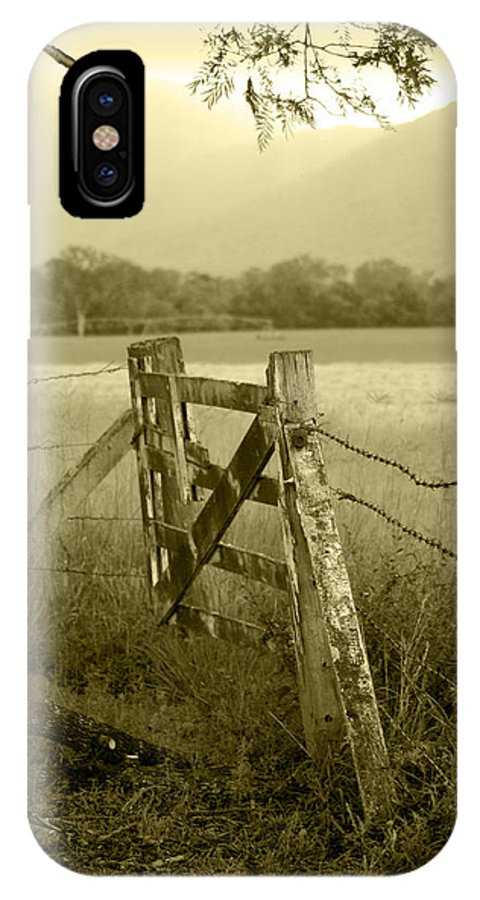 Gate IPhone X Case featuring the photograph Forgotten Fields by Holly Kempe