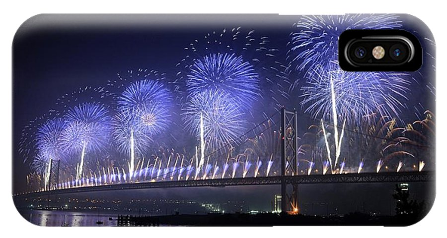 Forth IPhone X Case featuring the photograph Forth Road Bridge Fireworks by Cathy Lovell