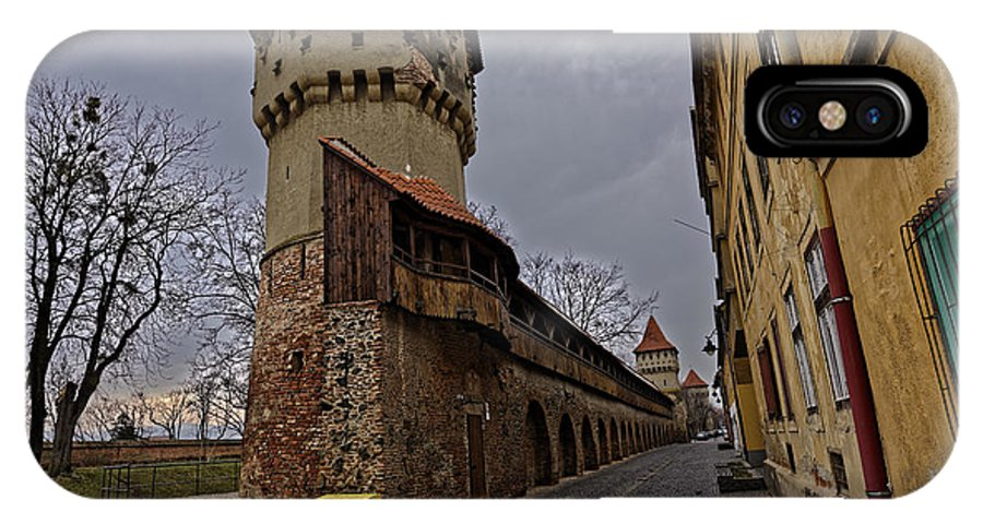 Architecture IPhone X Case featuring the photograph Fortress wall with three towers Sibiu Romania by Adrian Bud