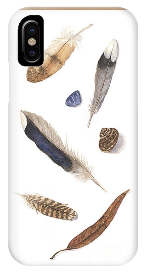 Feathers IPhone X / XS Case featuring the painting Found Treasures by Lucy Arnold