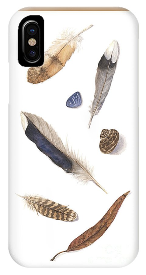 Feathers IPhone X Case featuring the painting Found Treasures by Lucy Arnold