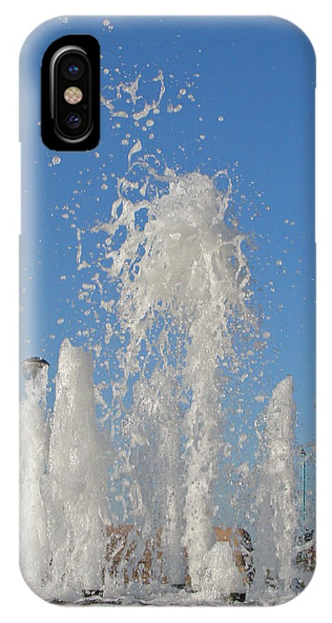 Motion IPhone X Case featuring the photograph Fountain At Rhyl by Rod Johnson