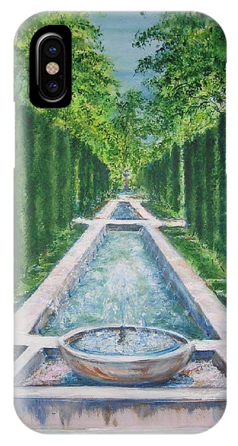 Fountain IPhone X Case featuring the painting Fountain Palma De Mallorca Capital by Lizzy Forrester