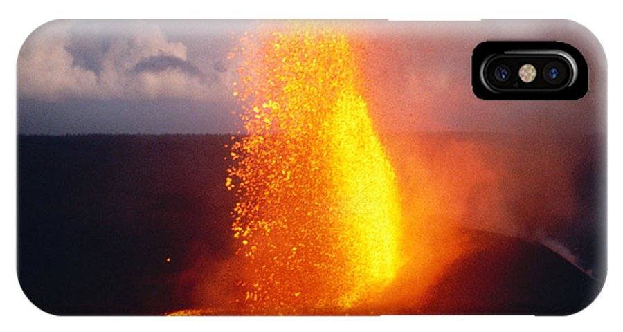 A'a IPhone X Case featuring the photograph Fountaining Kilauea by Allan Seiden - Printscapes