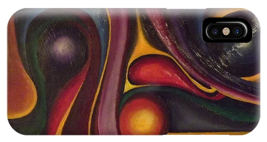 Abstract IPhone X Case featuring the painting Four Ball In The Side Pocket by Bernie Bishop