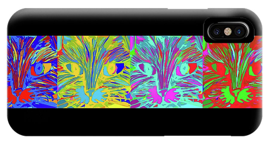 Modern IPhone X / XS Case featuring the digital art Four Cats by Michelle Calkins