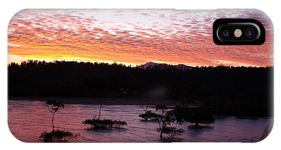 Landscape IPhone X Case featuring the photograph Four Elements Sunset Sequence 3 Coconuts Qld by Kerryn Madsen - Pietsch