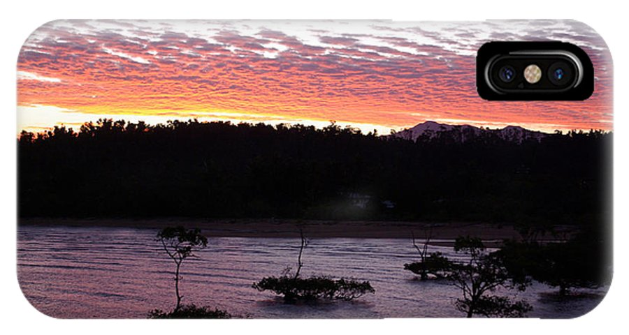 Landscape IPhone X Case featuring the photograph Four Elements Sunset Sequence 8 Coconuts Qld by Kerryn Madsen - Pietsch
