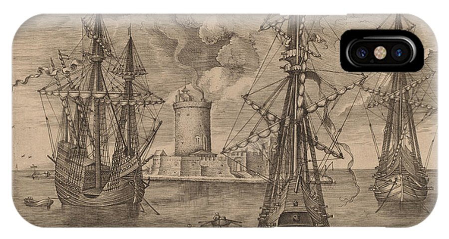 IPhone X Case featuring the drawing Four-master (left) And Two Three-masters Anchored Near A Fortified Island With A Lighthouse by Frans Huys After Pieter Bruegel The Elder