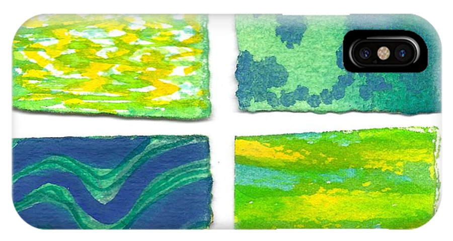 Abstract IPhone X / XS Case featuring the painting Four Squares Blue, Green, Yellow by Cynthia Conklin